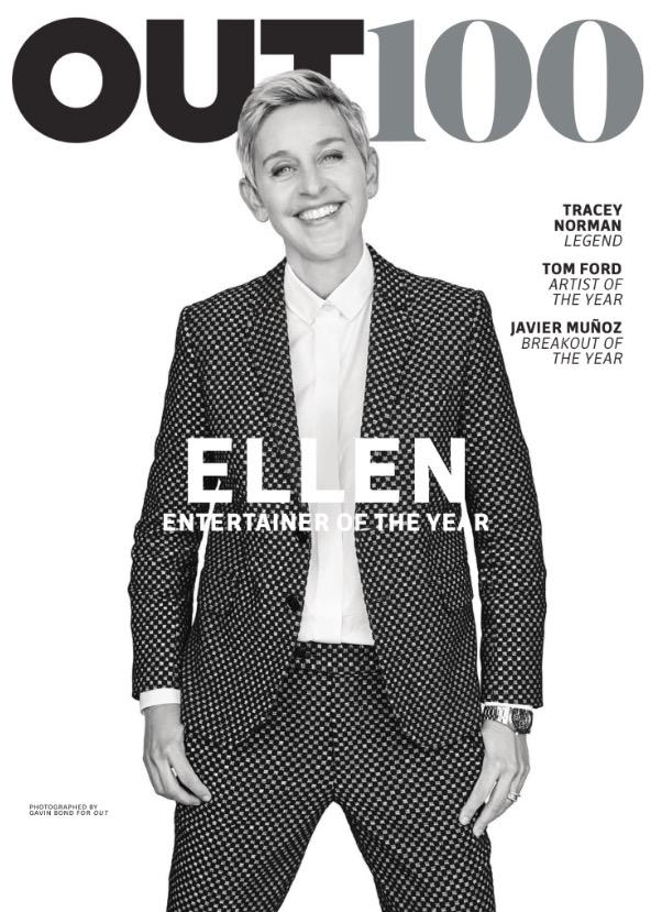 """Ellen DeGeneres encabeça a lista dos 100 mais da comunidade LGBT compilada pela revista """"Out"""". (Foto: Reprodução)"""