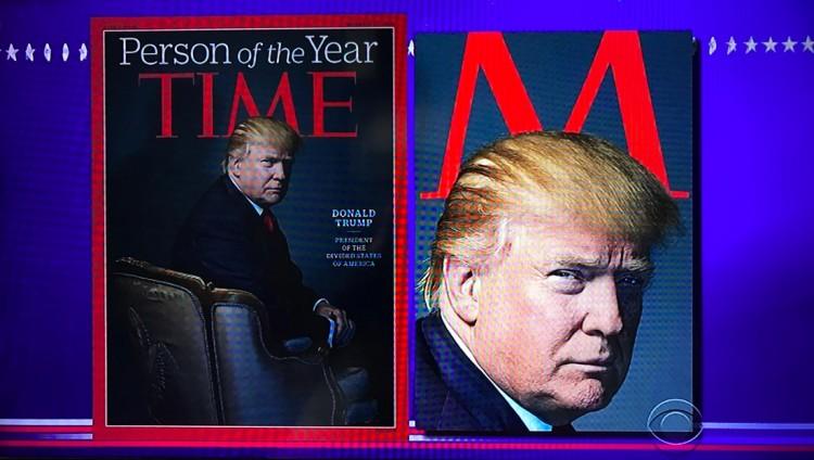 """O apresentador Stephen Colbert """"notou"""" que a Time colocou """"chifres de diabo"""" na cabeça de Trump. (Foto: Reprodução)"""