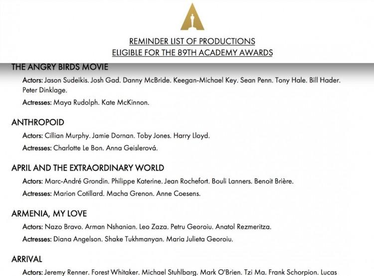 """Até o desenho """"Angry Birds - O Filme"""" foi inscrito na corrida do Oscar. Mas """"Aquarius"""" , que deveria estar listado por ordem alfabética, não apareceu. (Foto: Reprodução)"""
